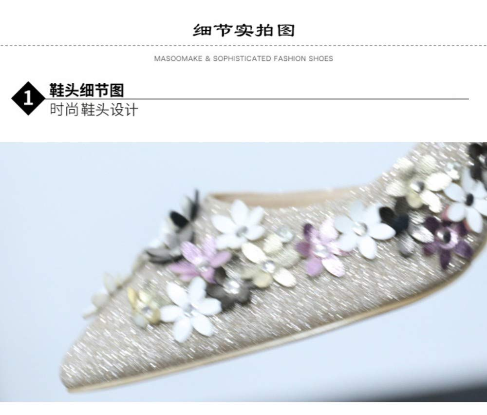 ZZDSH High Heels Female Spring Elegant Flower Sequins Word Buckle Single Shoes Pointed Stiletto 34
