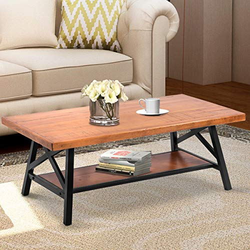 Wood Coffee Table Rustic Style Easy Assembly Wood and Metal Coffee Table Rectangle Coffee Table with Storage Shelf