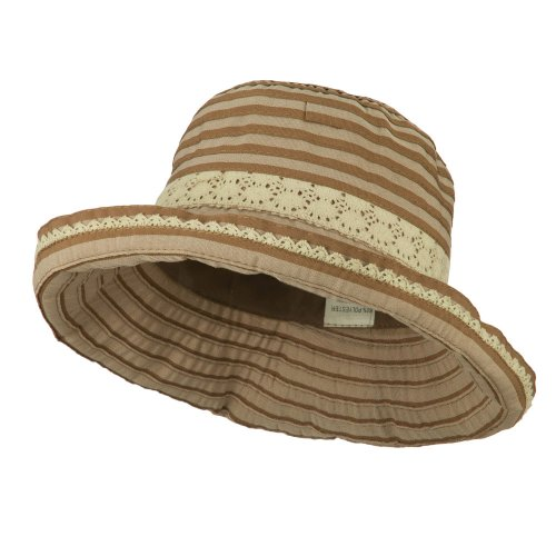 - Woman's Stripe Design Crushable Hat with Lace Accent - Brown OSFM