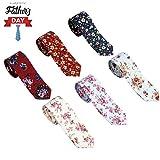 OUMUS Men's Ties,Cotton Floral Printed Slim Skinny Ties for Men Neckties Pack of 6