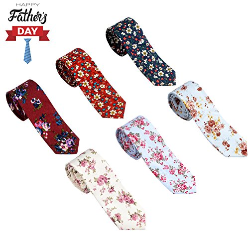 OUMUS Men's Ties,Cotton Floral Printed Slim Skinny Ties for Men Neckties Pack of 6 by OUMUS