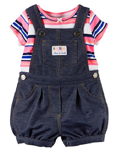 Carter's, Awesome Love To Smile, Shortall Set Baby Girls, 2-Piece Striped T-Shirt And Shortall Set Navy Blue Short (Carters Shortall)