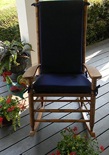 (Indoor / Outdoor Solid Color Rocking Chair 2 Pc Foam Cushion Set ~ Fits Cracker Barrel Rocker - Choose Color (Navy Blue))