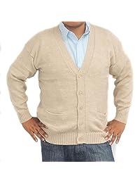 CELITAS DESIGN Men's Cardigan Alpaca Vneck Buttons and Pockets BEIGE