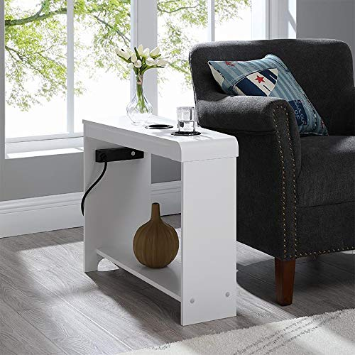 Naomi Home Jade Chairside Table with USB Ports & Outlets White