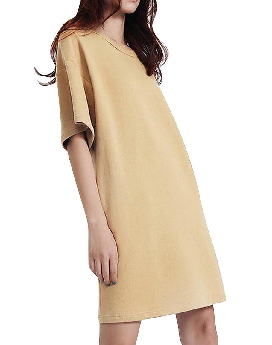 Zago Womens Short Sleeve Solid Color Boyfriend Loose Midi T Shirt