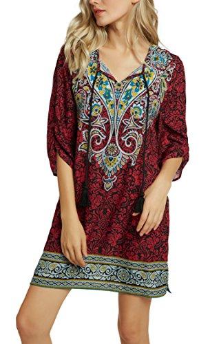GoCo Vintage Chemise Robe 3 Tunique Tops Robe Femmes Shirt Imprim Hauts Manches Bohmien Urban 4 3 Mini dqXpgnwq