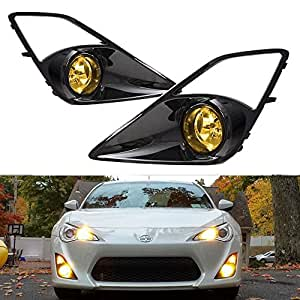iJDMTOY Complete JDM 3000K JDM Yellow Fog Light Kit For 2013-2016 Scion FR-S w/High-Gloss Bezel Covers and Complete Relay Harness w/ Switch