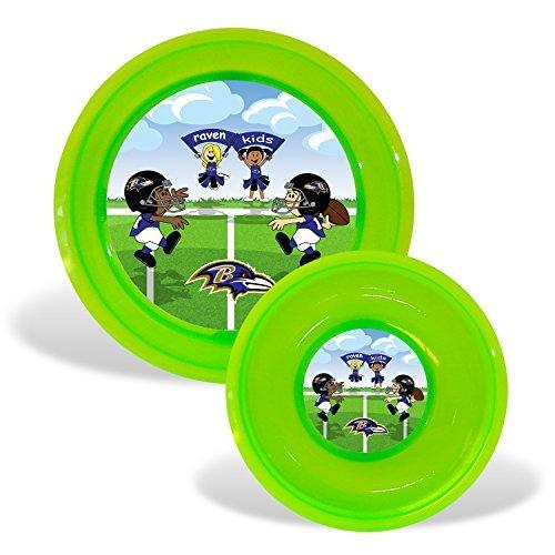 NFL Footballキッズ幼児用プレート&ボウルセット – Pickチーム  ボルチモアレイヴンズ  B00PKWFX50