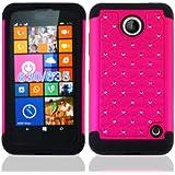 Nokia Lumia 635 Case, Premium Durable Hard&Soft Hybrid Gel Rhinestone Bling Armor Defender Case For Nokia Lumia 635【Storm Buy】 (Bling pink)