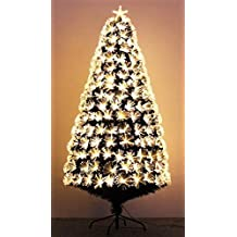 Boxing week Sale Pre-lit Christmas Tree Golden Star Sparkling Fiber Optic Artificial Christmas Tree (6ft)