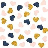 300PCS Heart Confetti, Table Confetti, Party Confetti, Anniversary Confetti for Bridal Shower Decor, Wedding Table Decor, Baby Shower, Valentines Day (Gold Glitter, Pink, Navy)