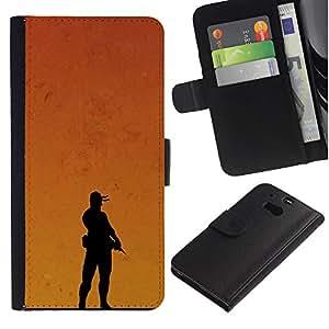 HTC One M8 - Dibujo PU billetera de cuero Funda Case Caso de la piel de la bolsa protectora Para (Sunset Soldier)