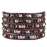 KELITCH Fashion Wrap Bracelet Faceted Crystal Beads Bracelet On Brown Leather Vintage Summer Jewelry