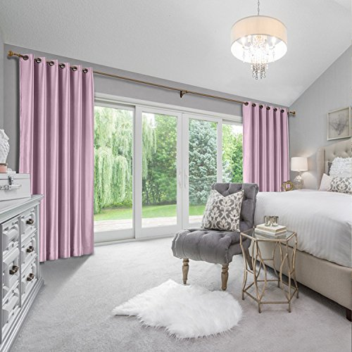 cololeaf Extra Wide Blackout Textured Faux Silk Dupioni Curtain Single Panel for Bedroom Living Room,Grommet Top,Smoky Plum 150