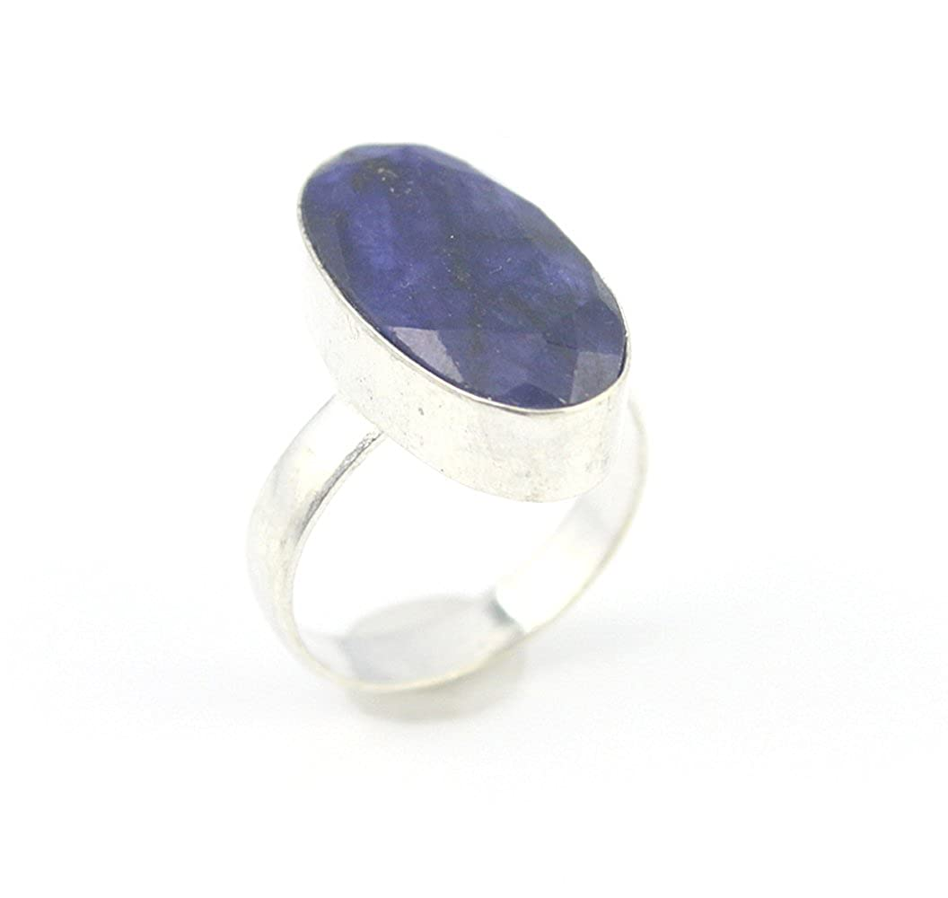 SAPPHIRE FASHION JEWELRY .925 SILVER PLATED RING 7 S23969