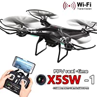 Gift For Xmas! Bestpriceam X5SW-1 RC Helicopter 6-Axis Gyro 2.4G 4CH Real-time Images Return RC FPV Quadcopter Drone Black