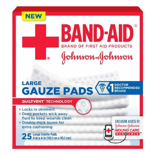 Band-Aid First Aid Gauze Pads, Large  25 ea Pack of 4