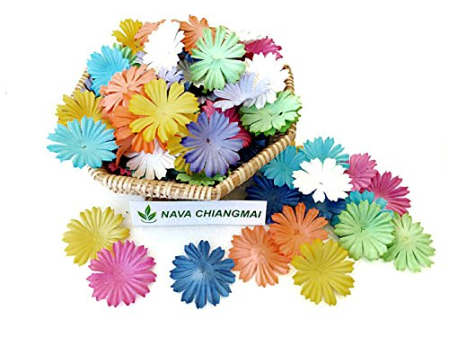 NAVA CHIANGMAI 100 pcs Daisy Mulberry Paper Flower Artificial Craft Scrapbook Wedding Supply Accessory DIY, Assorted Color, Mixed color, Size 1 -