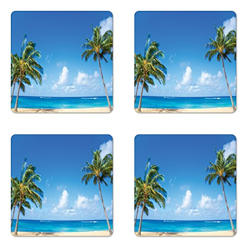 oaster Set Four, Windy Exotic Island Tropical Trees Calm Beachy Theme Ocean Photography Print, Square Hardboard Gloss Coasters Drinks, Gray Green ()