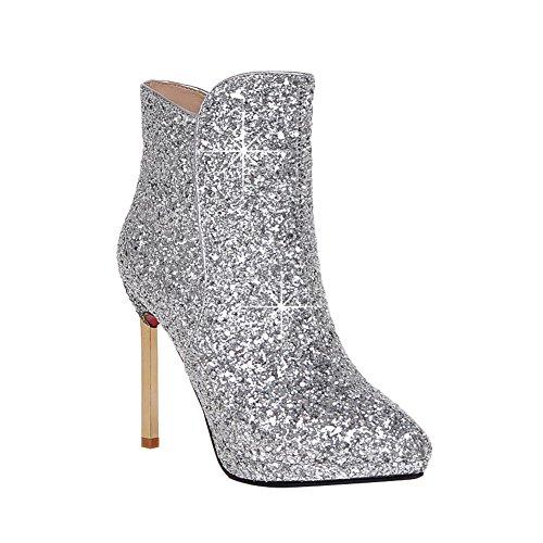 Sequins Sexy Boots Zip Women's Dress Carolbar Short High Silver Fashion Heel xzUtw7