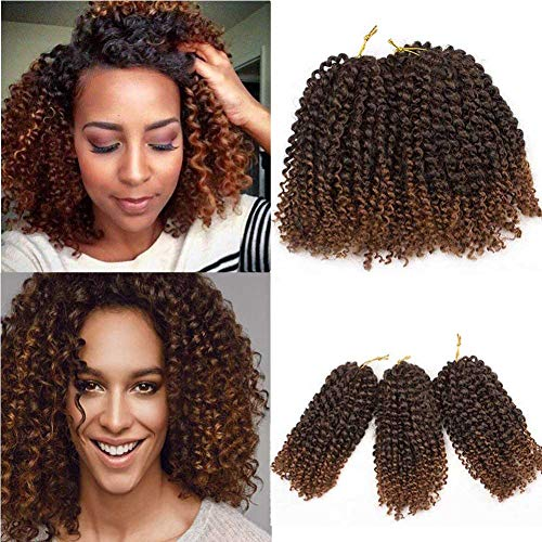 HVAXING 8 inch Short Marlybob Crochet Braiding Hair 3 Bundles/pack Afro Kinky Curly Synthetic Ombre Braids Hair Extensions (Natural Color-Deep Brown,T1B/30#)