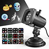 LED Halloween Christmas Projector Lights, OxyLED Landscape Flashlight, Portable Waterproof Projection Lamp with 12 Slides for Outdoor Indoor Xmas Theme Party, Yard Garden Decoration