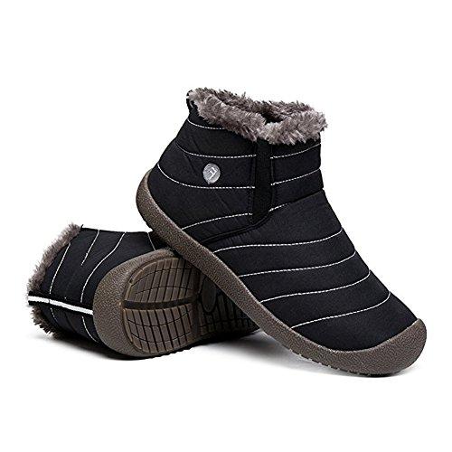 La Con Donna Nero Pelliccia Scarpe Impermeabile Caviglia Inverno Completamente neve KEALUX Uomo Stivali Foderato Antiscivolo wCvq44RX5f