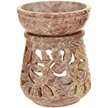 Oil Diffuser - Natural Soapstone Oil Burner Round Leaves 4""