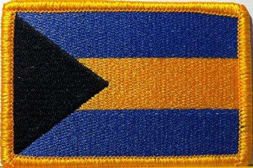 Bahamas Flag Patch with Hook & Loop Travel Morale Patriotic Gold Border MC Biker Shoulder Emblem