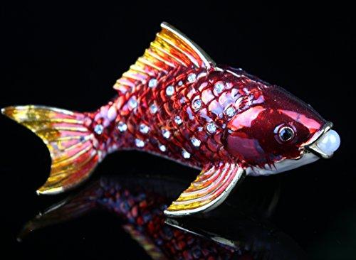 znewlook Marine Organism Figurine Business Gift Crystal Metal Craft Casket Antique Fish Tank Decoration (Red)