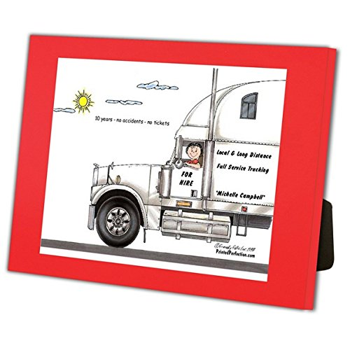 Personalized Friendly Folks Cartoon Caricature in a Color Block Frame Gift: Truck Driver, 18 Wheeler - Female Great for long haul trucking, over the road, cross country trucker