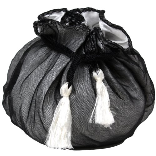 6 Designer Organza and REVERSIBLE Satin Fabric Gift Bags Pouches Party Favor Gifts Packaging In Black and White (Reversible Drawstring Bag)