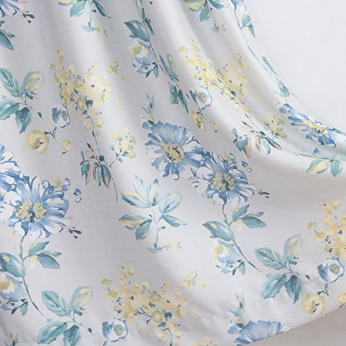 Blackout Flower Curtains Teal Blue Yellow Drapes - Anady Grommet 2 Panel Design Window Small Curtains Morden Drapes for Bedroom 63 inch length (Customized Available)