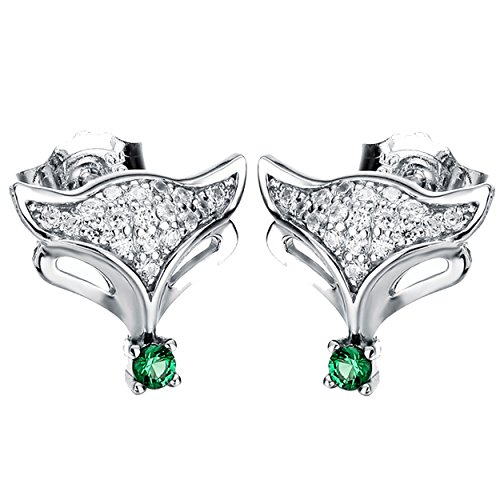 (Jewever 925 Sterling Silver Fox Inlaid Green Cubic Zirconia Stud Earrings Women Birthday Gift Jewelry )