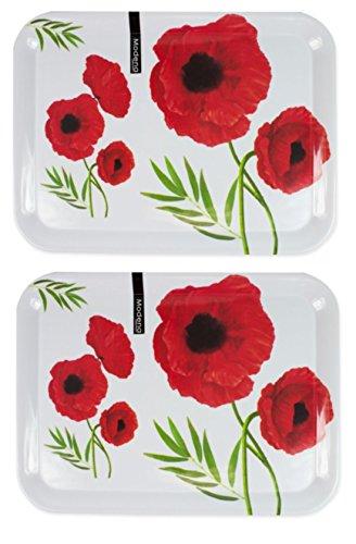 2 x Large Poppy Design Melamine Serving Platter Lap Tea Dinner Tray 44 x 32.5cm RSW
