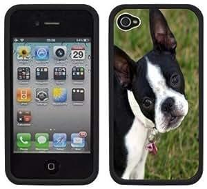 Boston Terrier Handmade iPhone 4 4S Black Hard Plastic Case