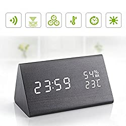 Wenjuan Wooden Digital Alarm Clock,Voice-activated LED Temperature And Humidity 3 Levels Adjustable Brightness/3 Groups of Alarm Time/Displays Time Date Temperature and Humidity/Triangle Touch /Black