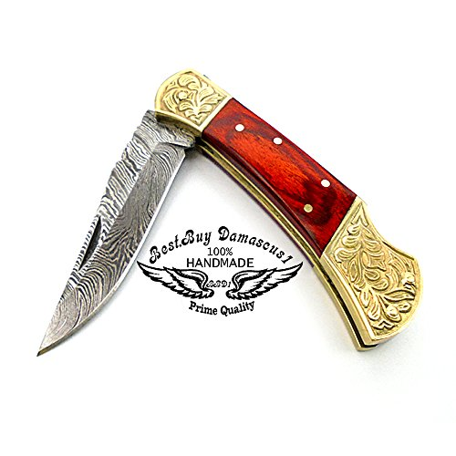 Red Wood Brass Double Bloster Beautiful Screemshw Work 7.6'' Custom Handmade Damascus Steel Back Lock Folding Pocket Knife 100% Prime Quality+ Leather Sheath Case by Best.Buy.Damascus1 (Image #3)