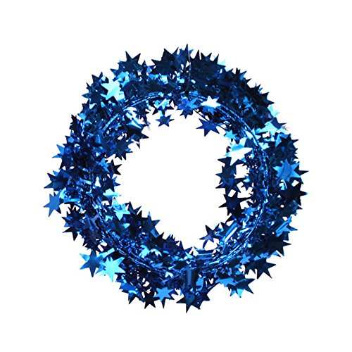 3PCS/1set Star Garland Tinsel Stars Brace,Tinsel Wire Garland Christmas Decoration Party Accessory (Blue) ()