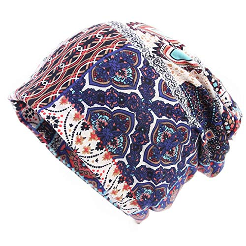 097ad92ab77 HITSAN INCORPORATION Womens Double Use Cotton Turban Hat Floral Geometric Printed  Beanie Ponytail Cap G Ethnic Red  Amazon.in  Clothing   Accessories