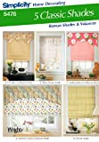 roman shade pattern Simplicity Sewing Pattern 5476 Home Decorating, One Size