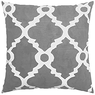 JinStyles Moroccan Tile Cotton Canvas Decorative Throw Pillow Cover (Gray and White, 18 x 18 inches)