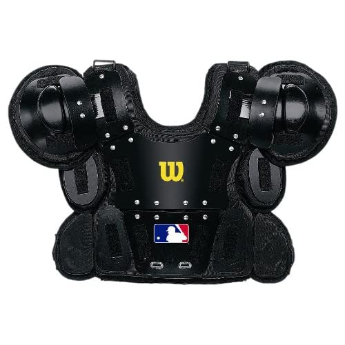 Image of Wilson West Gold Umpire Chest Protector (Black, 12-Inch)