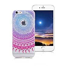 XiaoXiMi Transparent TPU Case for iPod Touch 5/6 with Unique Totem Design Pattern Soft Silicone Cover Flexible Smooth Phone Skin Ultra Slim Thin Shell Full Protective Bumper Scratchproof Shockproof Case for iPod Touch 5/6 - Purple Tribal Mandala