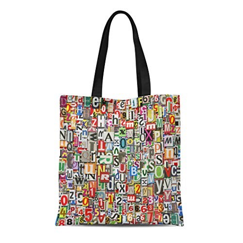 Semtomn Canvas Tote Bag Shoulder Bags Blue Abstract Designed Digital Collage Made of Newspaper Clippings Women's Handle Shoulder Tote Shopper Handbag