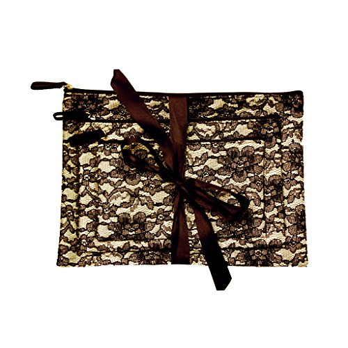 Mia Cosmetic bags gift set of 3; 3 sizes tied with shiny black ribbon bags - Light Gold Satin (5Th Color) With Black Lace Overlay; Black Zipper And Black Satin Puller, Waterproof Inside