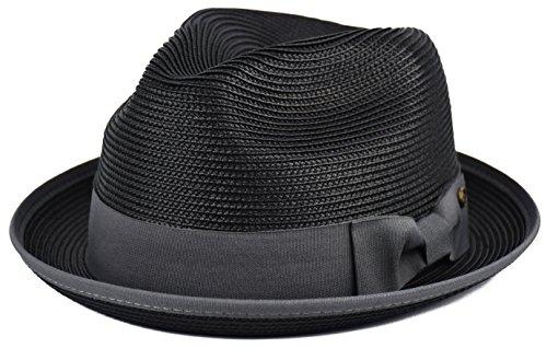 Mens Summer Fedora Hat Poly Braid Bound Edge Crushable Porkpie Hat (Black, S/M)