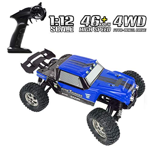 RC Cars Tecesy 1/12 Scale 4WD Off Road Waterproof RC Trucks with LED Lights, 2.4GHz Radio Remote Control Truck Monster, High Speed Crawler Rc car for Adults & Kids(Blue)