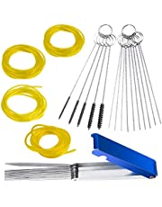 4 pcs Fuel Line and 3 Carburettors Carbon Dirt Jet Remove Cleaner, FineGood Cleaning Wires Needles Nylon Brushes Set, with 4 Sizes Hose Tube for Weedeater Chainsaw Motorcycle ATV Moped Welder Carb